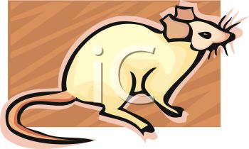 clip art illustration of a mouse on a brown background in a vector clip art illustration