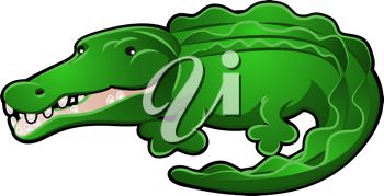 picture of a cartoon alligator on a white background in a vector clip art illustration