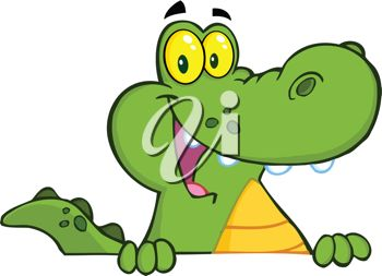 picture of a cute cartoon alligator smiling and holding onto a ledge in a vector clip art illustration