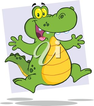 picture of a happy cartoon alligator on a blue background in a vector clip art illustration