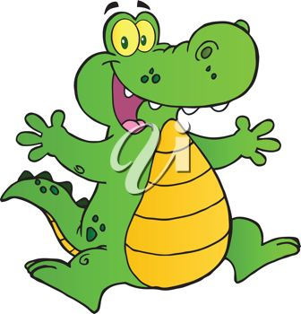 picture of a happy cartoon alligator jumping in the air in a vector clip art illustration