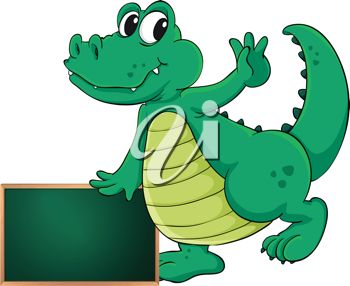 picture of a cartoon alligator standing with a chalkboard in a vector clip art illustration