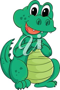 picture of a cute baby alligator sitting down in a vector clip art illustration