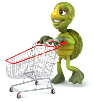 picture of a cartoon turtle pushing an empty shopping cart in a vector clip art illustration
