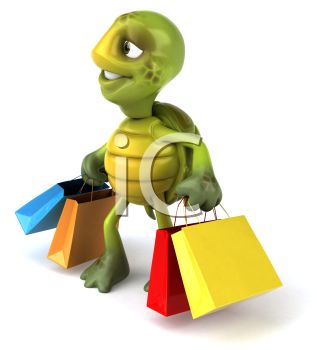 picture of a cartoon turtle carrying colorful shopping bags in a vector clip art illustration