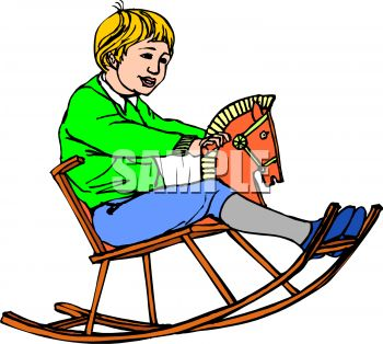 picture of a boy riding on a toy wooden rocking horse in a vector clip art illustration