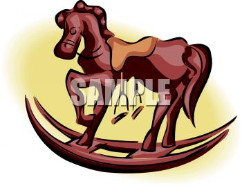 picture of a wooden toy rocking horse in a vector clip art illustration
