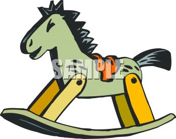 picture of a wooden rocking horse in a vector clip art illustration