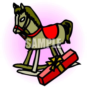 picture of a toy rockng horse with a wrapped gift in a vector clip art illustration