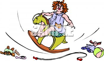 picture of a young girl riding on a wooden rocking horse. her toys are laying on the floor in a vector clip art illustration