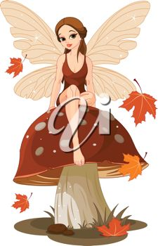 A cartoon faerie sitting on a mushroom with fall leaves falling.