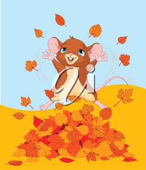 A mouse throuwing leaves up into the air with joy.