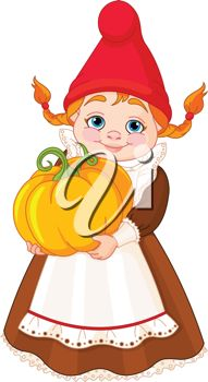 A cartoon clipart image of an elf with a Fall pumpkin