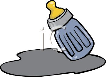 picture of a small baby bottle with spilled milk in a vector clip art illustration