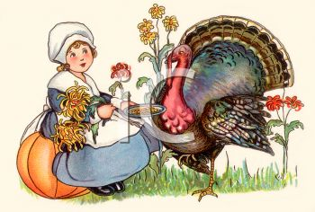 A woman feeding a turkey in preparation for Thanksgiving