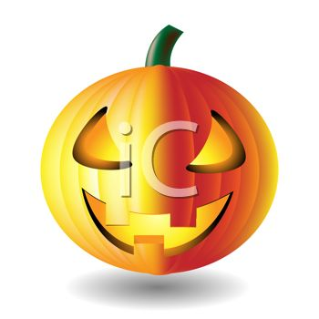 picture of a lit up jack o lantern in a vector clip art illustration
