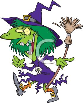 picture of a cartoon witch walking with her broom in a vector clip art illustration