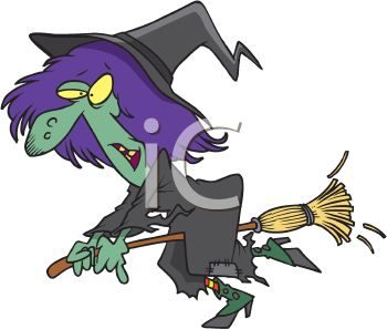 picture of a cartoon witch on her broom in a vector clip art illustration