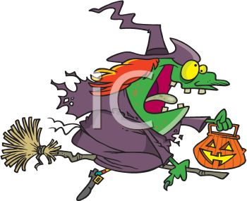 picture of a cartoon witch on her broom holding a pumpkin bucket  in a vector clip art illustration