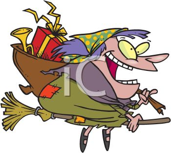 picture of a cartoon witch flying on her broom carrying a pack of toys in a vector clip art illustration