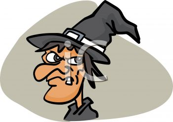 picture of an ugly cartoon witch with a snaggle tooth in a vector clip art illustration