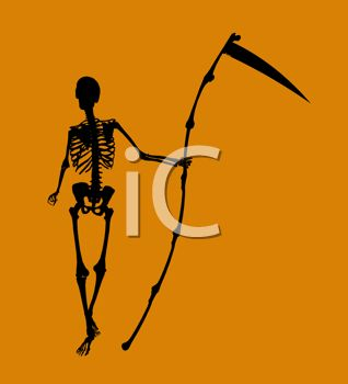 picture of a skeleton holding a scythe on an orange background in a vector clip art illustration