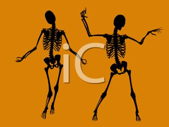 picture of two skeletons dancing on an orange background in a vector clip art illustration