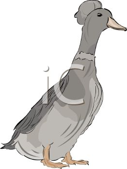 picture of a goose on a white background in a vector clip art illustration