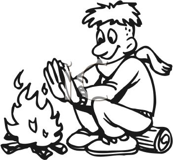 picture of a boy sitting on a log warming his hands by the campfire in a vector clip art illustration