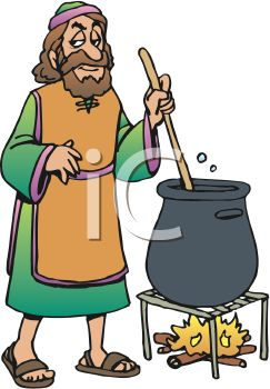 picture of a religious man stirring a pot of brew over a campfire in a vector clip art illustration