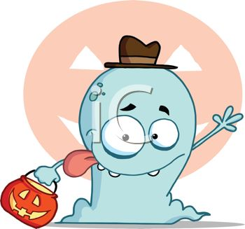 picture of a blue cartoon ghost with his tongue out wearing a hat and holding a pumpkin, with a pumpkin background in a vector clip art illustration