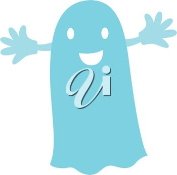 picture of a blue ghost costume with it's arms out in a vector clip art illustration