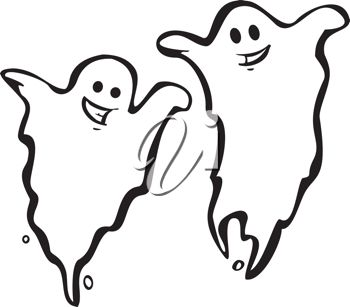picture of an outline of two ghosts on a white background in a vector clip art illustration