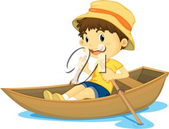Clip art image of a boy rowing his boat on a lake.