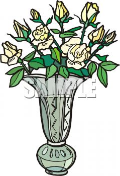 picture of fresh cut flowers in a vase in a vector clip art illustration