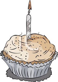 picture of a frosted cupcake with a lit candle in a vector clip art illustration
