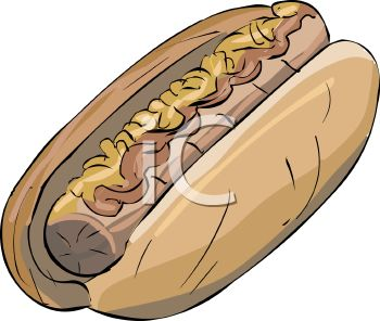 picture of a hot dog in a bun covered in ketchup and mustard in a vector clip art illustration