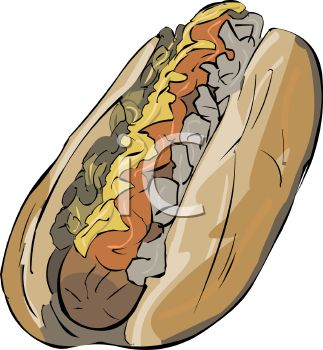 picture of a hot dog covered with condiments in a vector clip art illustration