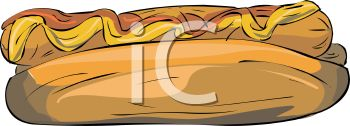 picture of a hot dog on a bun with ketchup and mustard in a vector clip art illustration