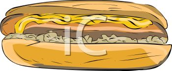 picture of a hot dog on a bun with mustard and onions in a vector clip art illustration
