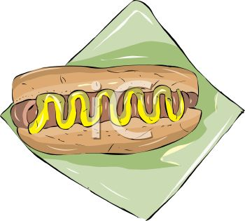 picture of a hot dog with mustard in a bun with a knapkin in a vector clip art illustration