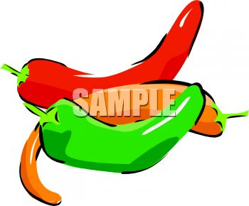 picture of bright colored chili's on a white background in a vector clip art illustration