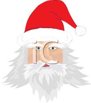 picture of a cartoon santa face with a santa hat in a vector clip art illustration