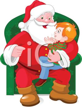 Picture of a Cartoon Santa Sitting In a Green Chair With a Young ...