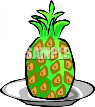 picture of a whole pineapple on a plate in a vector clip art illustration