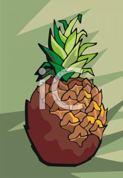 picture of a whole pineapple in a vector clip art illustration