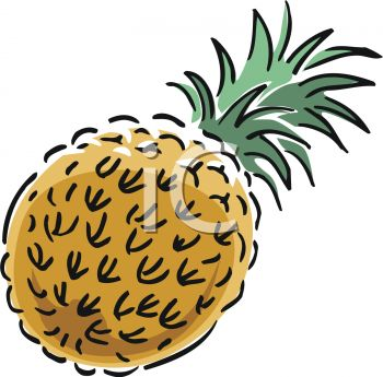 picture of a cartoon pineapple in a vector clip art illustration