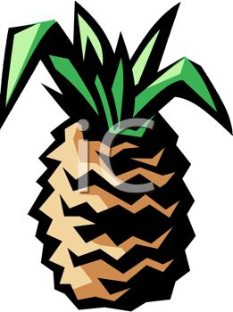 picture of a fresh pineapple in a vector clip art illustration