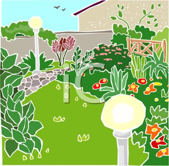 A clipart image of a garden with flowers and a lawn.