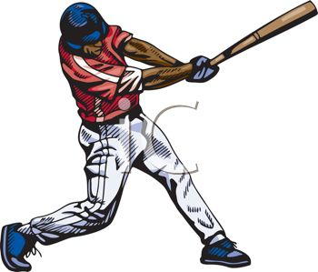 A clip art image of a man playing baseball.